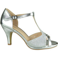 Glenda Silver Glitter Party Shoes