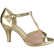 Glenda Champagne Glitter Party Shoes