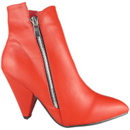 Elise Red Zip Pointy Toe Shoes