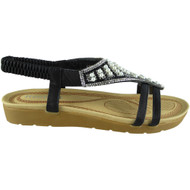 Londyn Black New Peep toe Strap Wedge Sandals