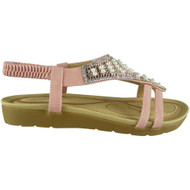 Londyn Pink Peep toe Strap Wedge Sandals