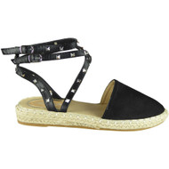 Tony Black Ankle strap Flat Summer Sandals