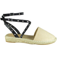 Tony Beige Ankle Strap Flat Summer Sandals