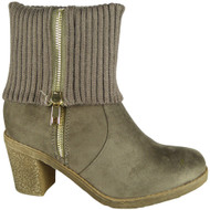 Hatty Khaki High Ankle Mid Calf Shoes