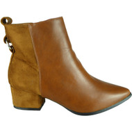 Cesca Camel Mid Heel Pointy Chelsea Shoes