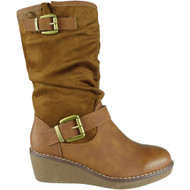 Frankie Camel Mid Calf Winter Rouched Shoes
