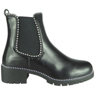 Gina Black Studded Goth Pull On Shoes