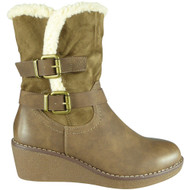 Gwendolen Khaki Mid Calf Winter Casual Shoes