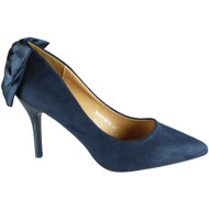 Janey Blue Pointy Court Casual Bow Shoes