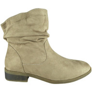 Juliette Khaki Pull On Rouched Faux Suede Casual Winter Shoes