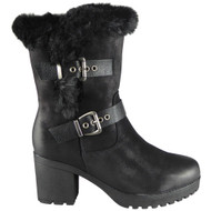 Celina Black Faux Fur Lined Mid Chunky Heel Shoes