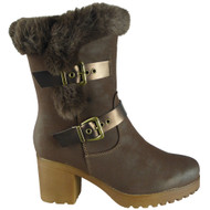 Celina Brown Faux Fur Lined Mid Chunky Heel Shoes