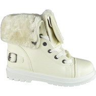 Mabelle White Faux Fur Lining Lace Up Shoes