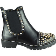 Clare Black - Gold Studded Goth Fashion Shoes