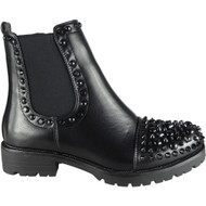 Clare All Black Studded Goth Fashion Shoes