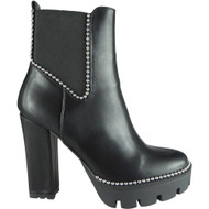 Antonia Black Cleated High Heel Bling Zip Shoes