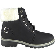 Sara Black Fur Lined Winter Casual Buckle Boots