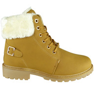Sara Camel Fur Lined Winter Casual Buckle Boots