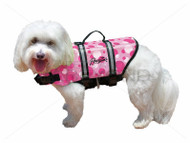 Pawz Pet Nylon Dog Life Jacket-Pink Bubbles