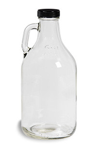 32 oz Clear Glass Jug with Black Plastic Cap - JUG32F