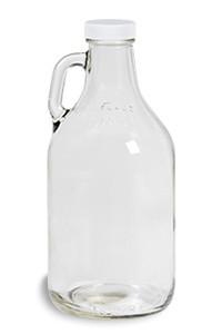 32 oz Clear Glass Jug with White Plastic Cap - JUG32W