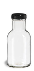 8 oz Round Stout Bottle with Black Cap - STOUT8