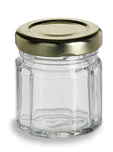 1.5 oz (45 ml) Multifaceted Glass Jar with Gold Lid - MF1