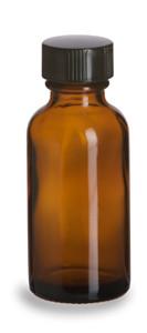1 oz Amber Boston Round Glass Bottle with Black Cap - BRA1