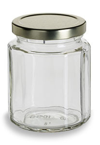 9.5 oz (292 ml) Multifaceted Glass Jar with Gold Lid - MF9