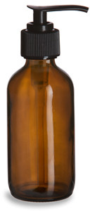 4 oz Amber Boston Round Glass Bottle with Black Pump - BRA4P