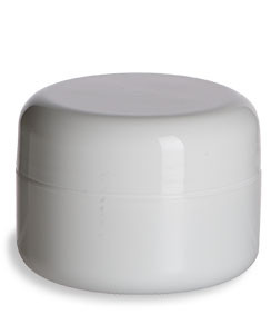 1/2 oz Double Wall White Plastic Jar with Dome Lid - DOUJ1/2