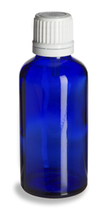 50 ml Cobalt Blue Euro Glass Bottle with White Dropper Cap - DPB50W
