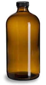 32 oz Amber Boston Round Glass Bottle with Black Cap - BRA32