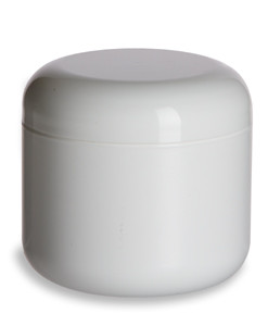 4 oz Double Wall White Plastic Jar with Dome Lid - DOUJ4