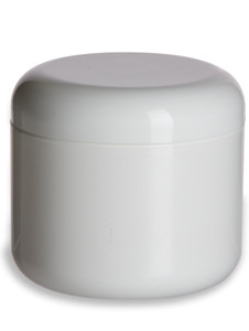 8 oz Double Wall White Plastic Jar with Dome Lid - DOUJ8