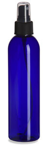 8 oz Blue PET Cosmo Plastic Bottle with Black Atomizer - PBR8AB