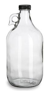 1/2 Gallon (64 oz) Clear Glass Jug with Black Plastic Cap - JUG1/2F