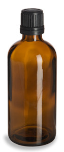 100 ml Amber Euro Glass Bottle with Black Dropper Cap - DPA100