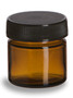 .85 oz (25 ml) Amber Straight Sided Glass Jar with Black Lid - SALV1A