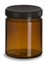 9 oz Amber Straight Sided Glass Jar with Black Lid - SS9A