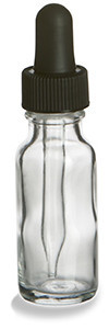 1/2 oz Clear Boston Round Glass Bottle with Dropper - BRF1/2D