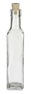 8.5 oz (250 ml) Quadra Square Glass Bottle with Cork - QDRA8C