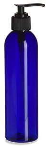 8 oz Blue PET Cosmo Plastic Bottle with Black Pump - PBR8P