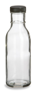 12 oz Round Sauce Bottle with Black Cap - SAU12