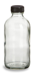 8 oz Clear Boston Round Glass Bottle with Black Cap - BRF8