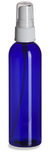 4 oz Blue PET Cosmo Plastic Bottle with White Atomizer - PBR4AW