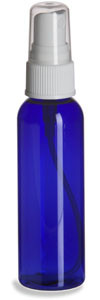 2 oz Blue PET Cosmo Plastic Bottle with White Atomizer - PBR2AW