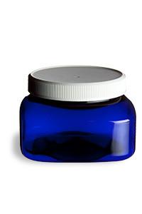 8 oz Blue PET Square Plastic Jar with White Flat Lid - PSQB8WF