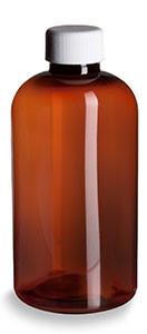 8 oz Amber PET Boston Round Plastic Bottle with White Screw Cap - PXA8W