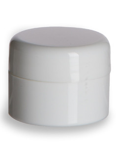 1/4 oz Double Wall White Plastic Jar with Dome Lid - DOUJ1/4